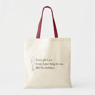 """Bite Me Holidays"" holiday tote Budget Tote Bag"