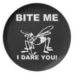 Bite Me I Dare You Funny Mosquito Plate
