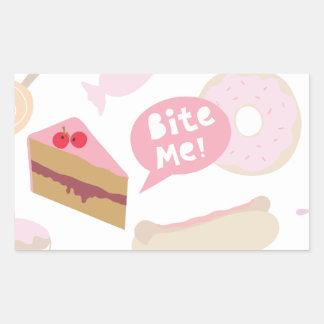 Bite me, Love cake Rectangle Sticker