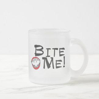 Bite Me 10 Oz Frosted Glass Coffee Mug