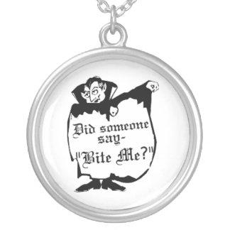 Bite me? round pendant necklace