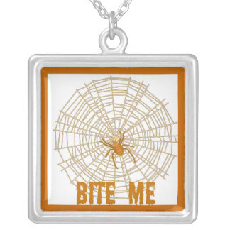 """BITE ME"" ORANGE SPIDER WEB PRINT SQUARE PENDANT NECKLACE"