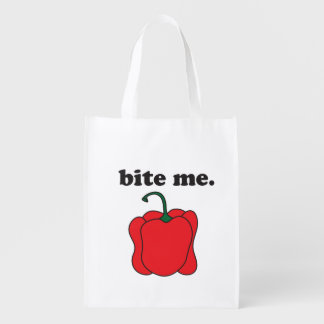 bite me. (red bell pepper) grocery bag