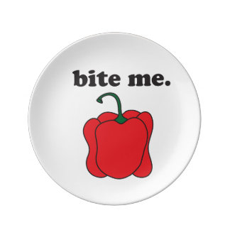 bite me. (red bell pepper) plate