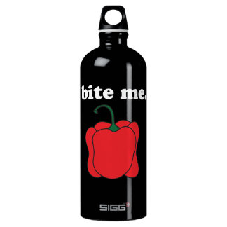 bite me. (red bell pepper) white text water bottle