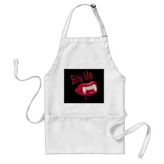Bite Me - Red Blood Vampire Fangs Lips & Teeth Apron