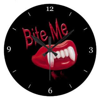Bite Me - Red Blood Vampire Fangs Lips & Teeth Large Clock