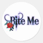 Bite Me Round Sticker