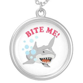 Bite Me Shark Round Pendant Necklace