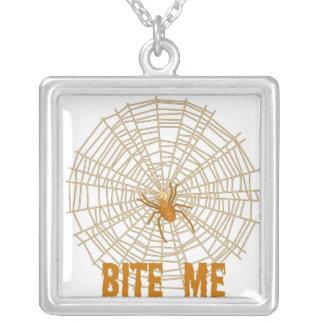 BITE ME SPIDER WEB HALLOWEEN PRINT SQUARE PENDANT NECKLACE