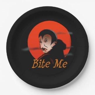 Bite Me Vampire Halloween 9 Inch Paper Plate