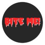 Bite Me Vampire Halloween Classic Round Sticker