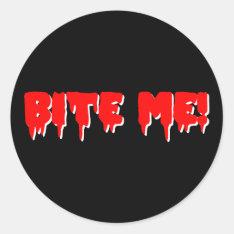 Bite Me Vampire Halloween Classic Round Sticker at Zazzle