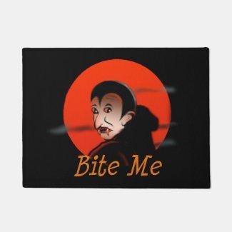 Bite Me Vampire Halloween Doormat
