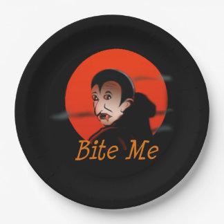 Bite Me Vampire Halloween Paper Plate