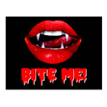 Bite Me Vampire Halloween Post Card