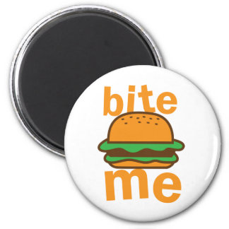 bite me ! with cute Hamburger 2 Inch Round Magnet