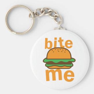bite me ! with cute Hamburger Basic Round Button Keychain