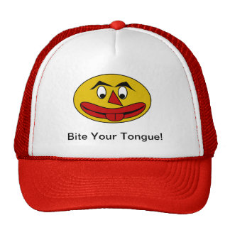 Bite Your Tongue Funny Yellow Face Trucker Hat