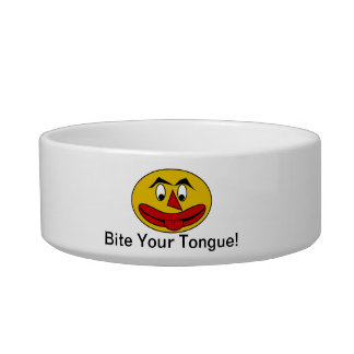 Bite Your Tongue Funny Yellow Face Cat Bowl