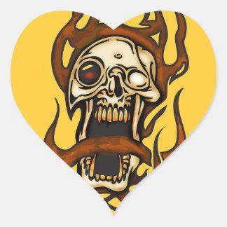 Biting Cyborg Skull Heart Sticker