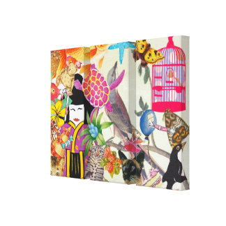 Bits and Bobs Collage 1 Triptych Stretched Canvas Prints
