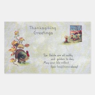 Bits of Autumn Vintage Thanksgiving Rectangular Sticker