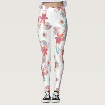 Beach Themed Bits of Flowers Leggings