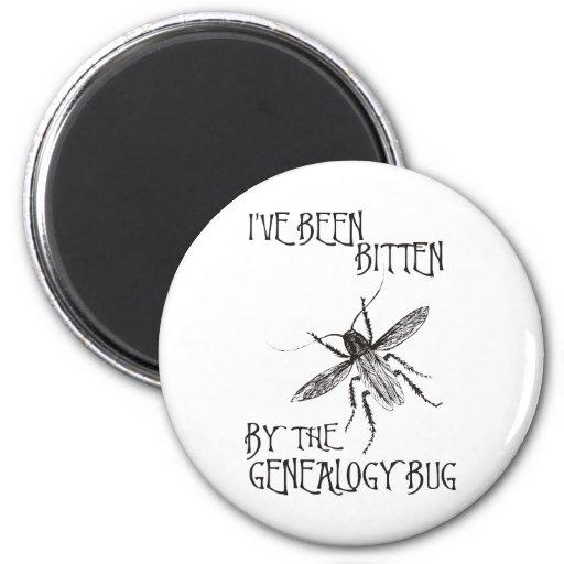Bitten By The Genealogy Bug 2 Inch Round Magnet