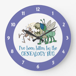 Bitten by the Genealogy Bug Large Clock