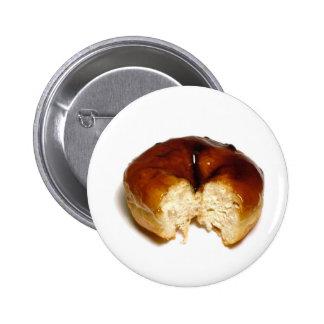 Bitten donut pinback button