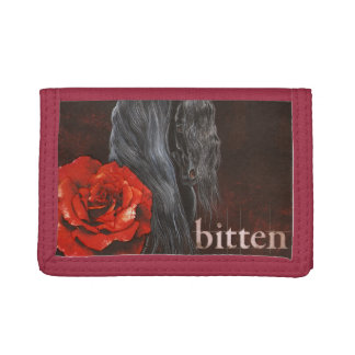 """Bitten"" Friesian Horse With Rose Tri-fold Wallet"