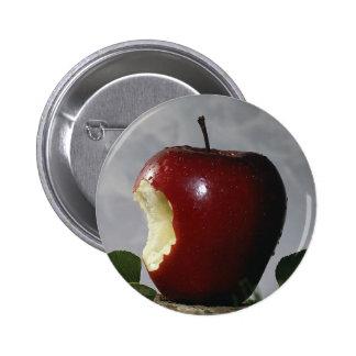 Bitten Red Apple Button