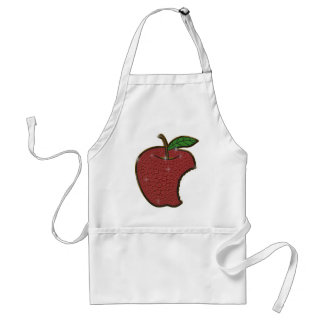 Bitten red apple shinning gemstone effect apron