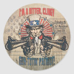 Bitter, Clingy Gun Toting Patriot Classic Round Sticker