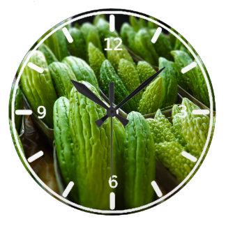 Bitter Melon Cucumber City Market Kansas City Large Clock