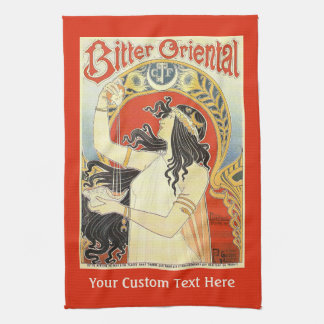 """Bitter Oriental"" Vintage Ad custom hand towel"