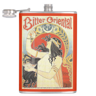 """Bitter Oriental"" Vintage Ad custom monogram flask"