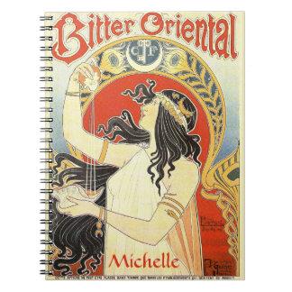 """Bitter Oriental"" Vintage Ad custom name notebook"