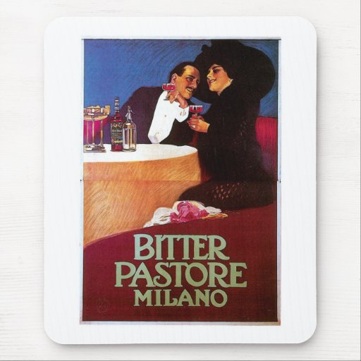 Bitter Pastore Milano Vintage Wine Drink Ad Art Mouse Pad