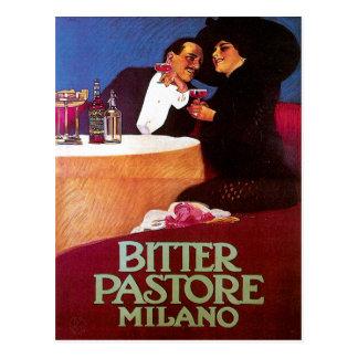Bitter Pastore Milano Vintage Wine Drink Ad Art Postcard