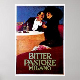 Bitter Pastore Milano Vintage Wine Drink Ad Art Poster