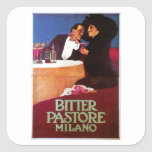 Bitter Pastore Milano Vintage Wine Drink Ad Art Square Sticker