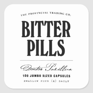 Bitter Pills - apothecary label Stickers