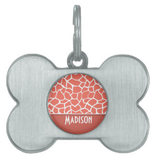 Bittersweet Color Giraffe Print; Personalized Pet ID Tag