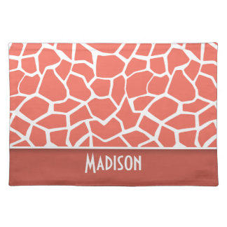 Bittersweet Color Giraffe Print Personalized Place Mat