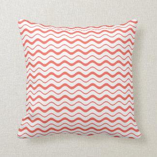 Bittersweet Orange & White Wavy Chevron Abstract Pillows