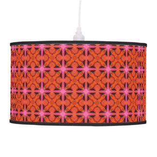 Bittersweet Pink Glowing Abstract Moroccan Lattice Ceiling Lamp