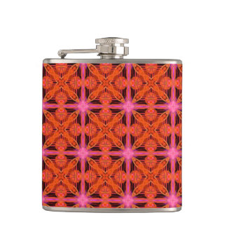 Bittersweet Pink Glowing Abstract Moroccan Lattice Flask