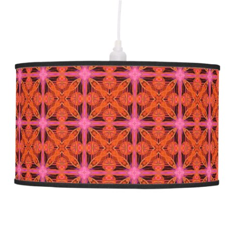 Bittersweet Pink Glowing Abstract Moroccan Lattice Hanging Lamp